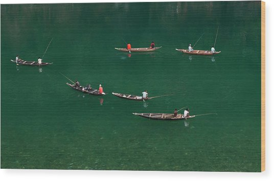 Fishermen At Dawki, Meghalaya, India Wood Print