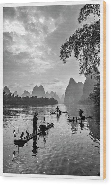 Fishermen At Dawn. Wood Print