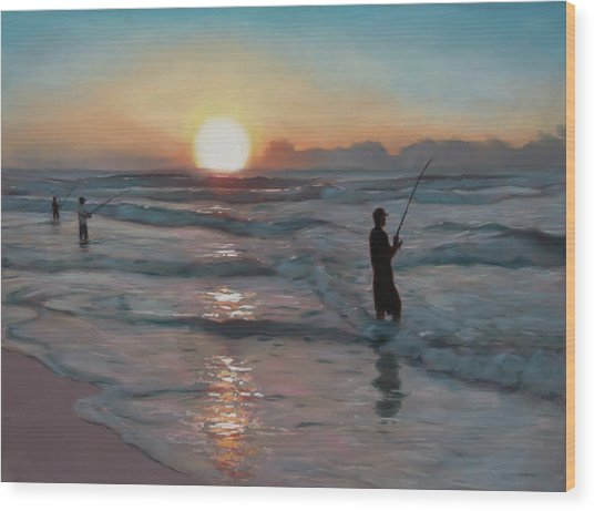 Fishermen At Sunrise Wood Print