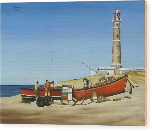 Fishermen By Lighthouse Wood Print