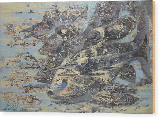 Fishes. Monotype Wood Print