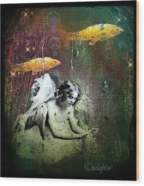 Wood Print featuring the digital art Fishes Wings by Delight Worthyn