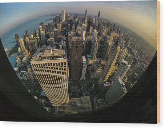Fisheye View Of Dowtown Chicago From Above  Wood Print