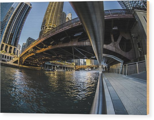 Fisheye View From The Chicago Riverwalk Wood Print