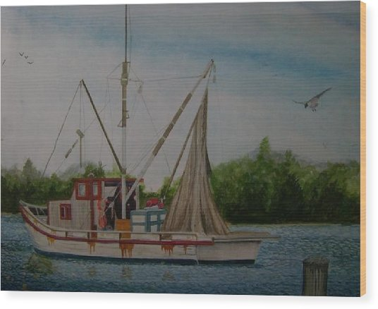 Fishin' Boat Wood Print by Tabitha Marshall
