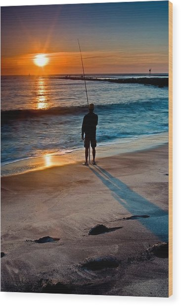 Fishing At Dawn On The Indian River Inlet Wood Print