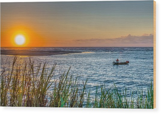Fishing At Pawleys Wood Print