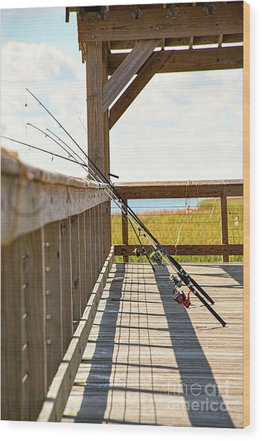 Fishing At Shem Creek Wood Print