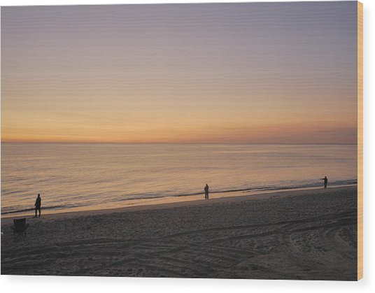 Fishing At Sunrise Wood Print by Mimi Katz