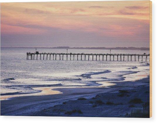 Fishing At Sunset Wood Print by Alan Hausenflock