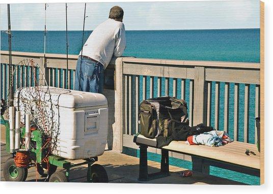 Fishing At The Pier Wood Print