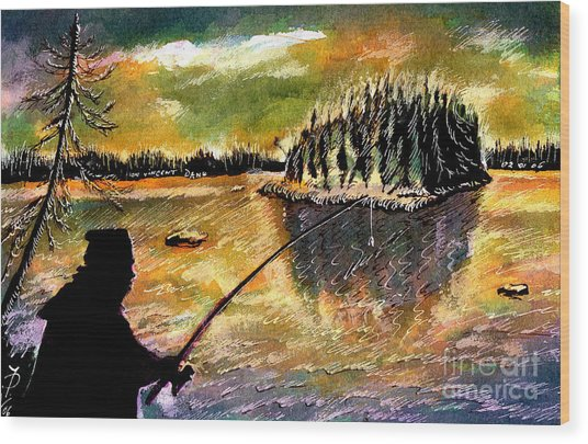 Fishing At Twilight Wood Print by Ion Danu