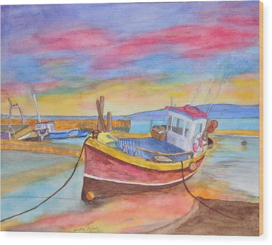 Fishing Boat At Low Tide Wood Print by Jonathan Galente