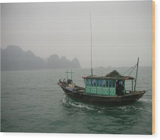 Fishing Boat In North Vietnam Wood Print