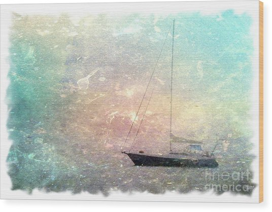 Fishing Boat In The Morning Wood Print