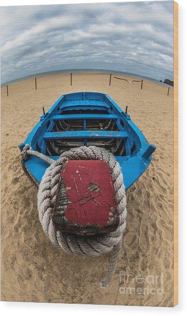Little Blue Fishing Boat Wood Print
