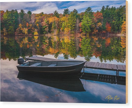 Fishing Boat On Mirror Lake Wood Print