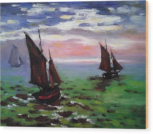 Fishing Boats At Sea Wood Print by Peter Kupcik