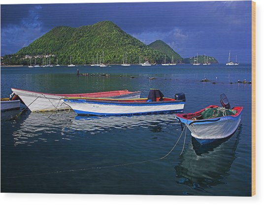 Fishing Boats At Sunrise- St Lucia Wood Print