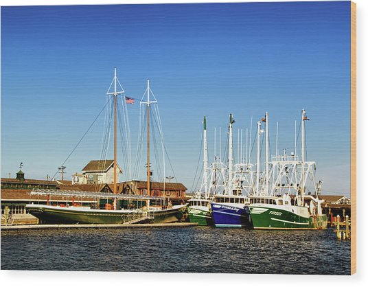 Fishing Boats In Cape May Harbor Wood Print