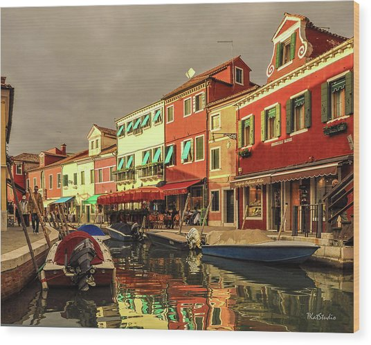 Fishing Boats In Colorful Burano Wood Print