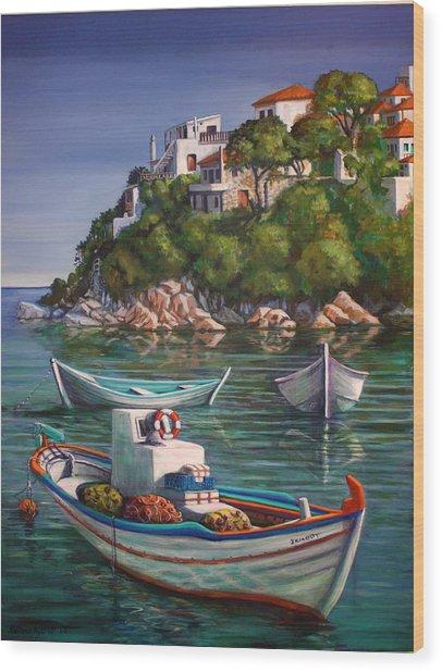 Fishing Boats In Skiathos Old Port Wood Print by Yvonne Ayoub