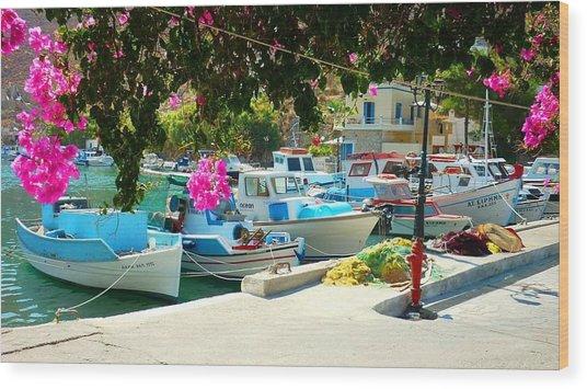 Fishing Boats Of Vathy Wood Print
