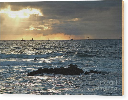 Fishing Boats Off Point Lobos Wood Print