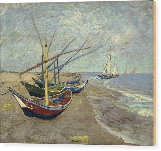 Wood Print featuring the painting Fishing Boats On The Beach by Van Gogh