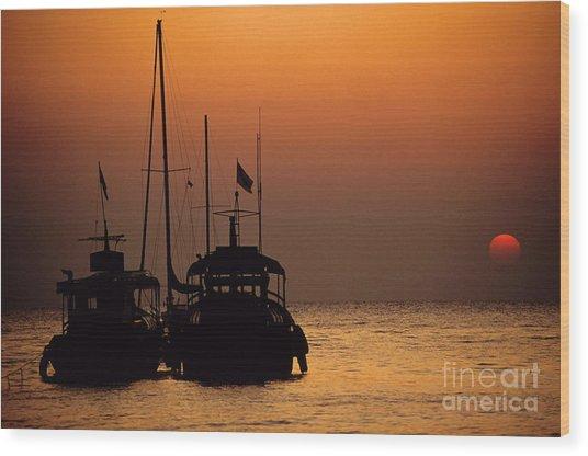 Fishing Boats Together At Sunset Wood Print by Sami Sarkis