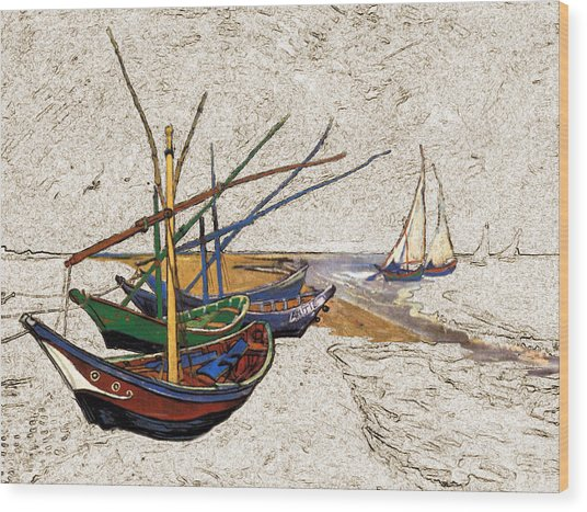 Fishing Boats Van Gogh Digital Art Wood Print