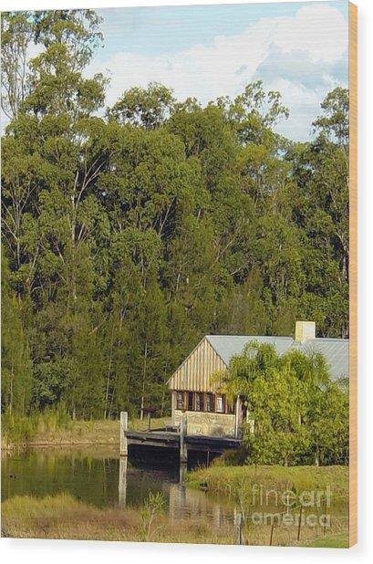 Fishing Cabin Wood Print