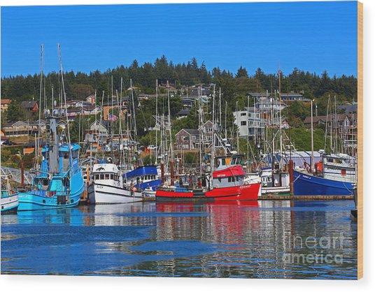 Fishing Fleet At Newport Harbor Wood Print