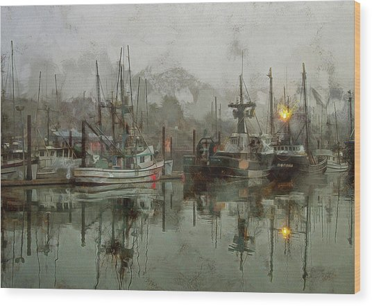 Fishing Fleet Dock Five Wood Print