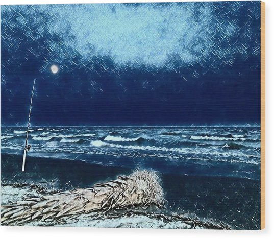 Fishing For The Moon Wood Print