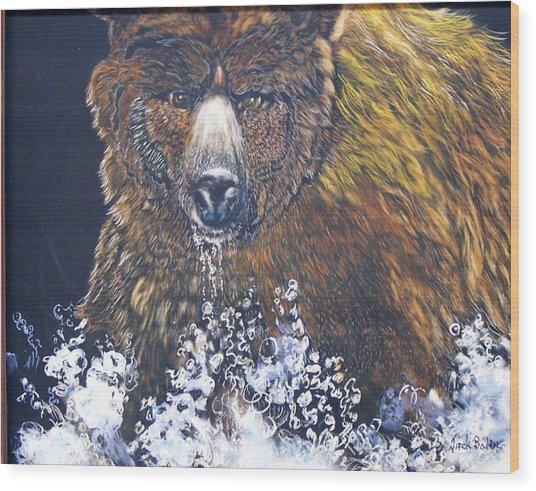 fishing Grizzly SOLD Wood Print