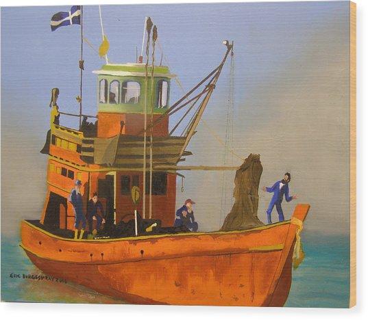 Fishing In Orange Wood Print