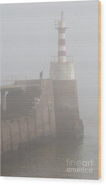 Fishing In The Mist. Wood Print by John Cox