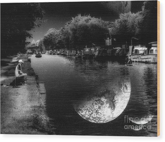Fishing In The Moonlight Wood Print