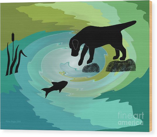 Fishing Labrador Dog Wood Print