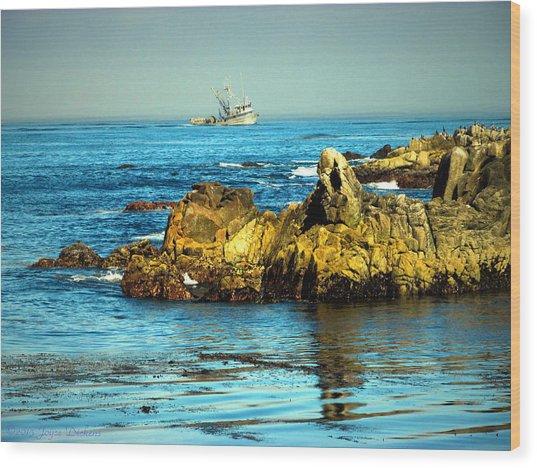 Fishing Monterey Bay Ca Wood Print