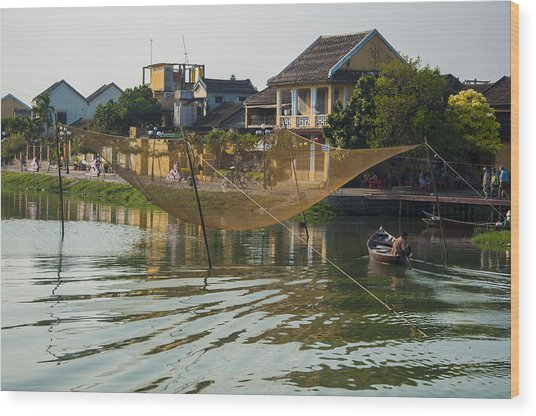 Fishing Net In Vietnam Wood Print