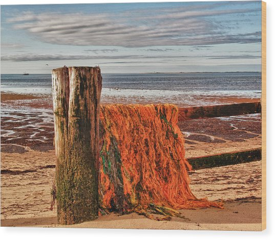 Fishing Nets In Province Town Wood Print by Linda Pulvermacher