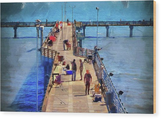 Fishing Off Galvaston Pier Wood Print
