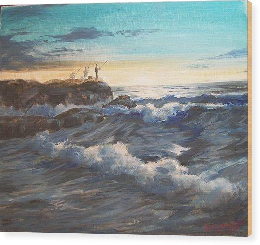 Fishing Off Point Judith R.i. Wood Print