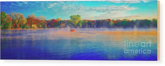 Fishing On Crystal Lake, Il., Sport, Fall Wood Print