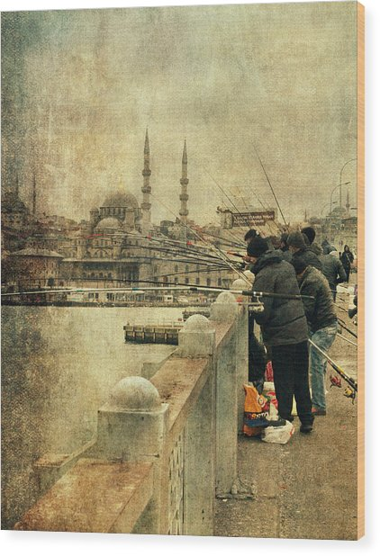 Fishing On The Bosphorus Wood Print