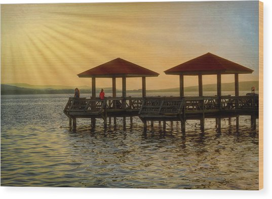 Fishing Pier Wood Print
