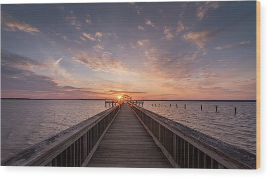 Fishing Pier Sunrise Wood Print by Michael Donahue