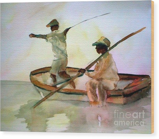 Fishing Wood Print